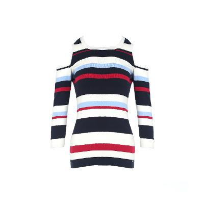 stripe pattern off shoulder t-shirt